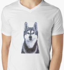 Husky-Portrait Mens V-Neck T-Shirt