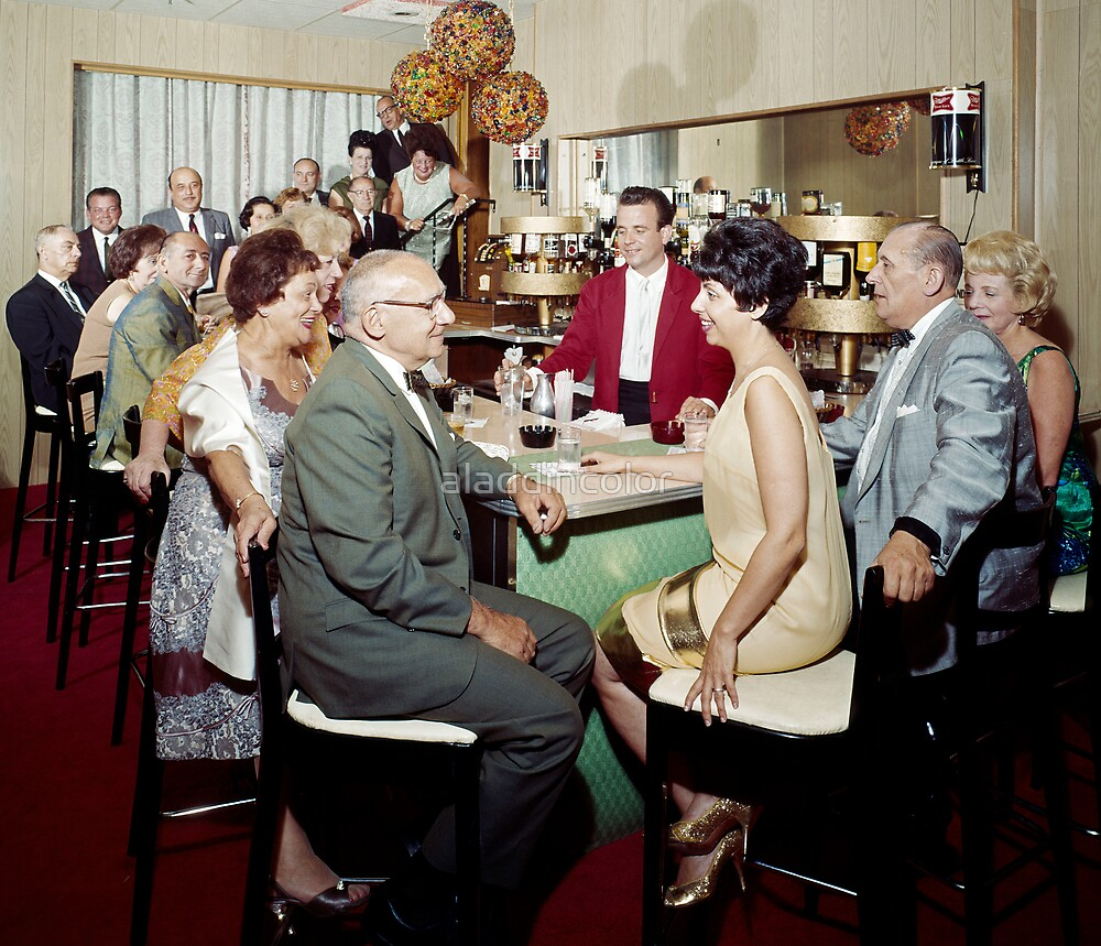 Couples dressed up for a night out at the Bar - 1950's by aladdincolor