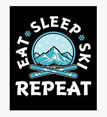 Eat Sleep Ski Repeat  Photographic Print