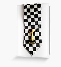 Motor sport racing tie and trophy Greeting Card