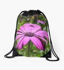 Side View Of A Purple Osteospermum With Garden Background Drawstring Bag