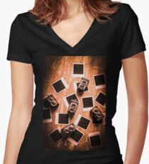 Abstract retro camera background Women's Fitted V-Neck T-Shirt