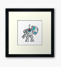 robot with a shield Framed Print