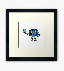 robot camera making selfie Framed Print