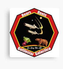 Bears. Beets. Battlestar Galactica. -  Mission Patch Canvas Print