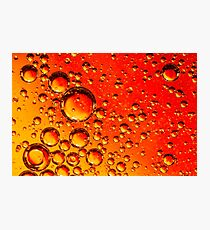 Red and Orange Coloured Oil on Water Abstract Photographic Print