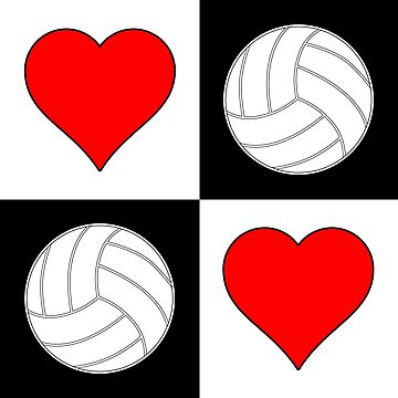 Volleyball Heart Checkered Pattern by BillyBoomstick