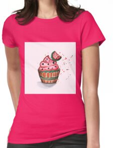 Cake with chocolate and strawberry Womens Fitted T-Shirt