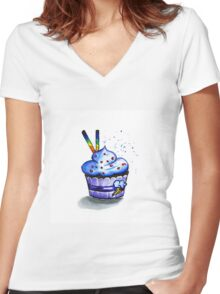 Cake with waffles. Watercolor painting Women's Fitted V-Neck T-Shirt
