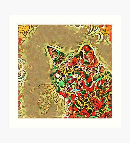 Ninja cat hiding in tropical colors Art Print