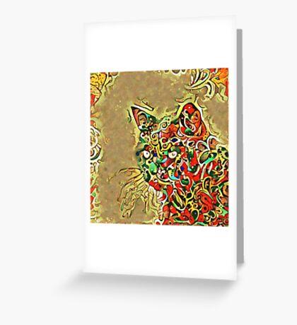 Ninja cat hiding in tropical colors Greeting Card