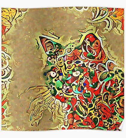 Ninja cat hiding in tropical colors Poster