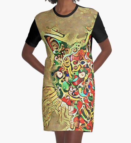 Ninja cat hiding in tropical colors Graphic T-Shirt Dress