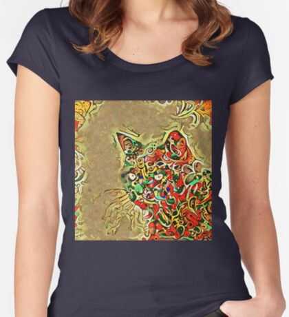 Ninja cat hiding in tropical colors Fitted Scoop T-Shirt