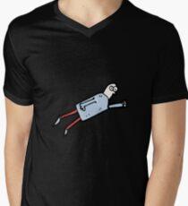 cartoon flying man Mens V-Neck T-Shirt