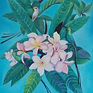 Sugar Birds in Frangipani. by Tatyana Binovskaya