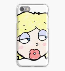 cartoon bored woman iPhone Case/Skin