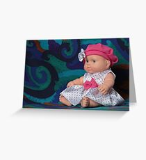 puppet polka dot dress sitting Greeting Card