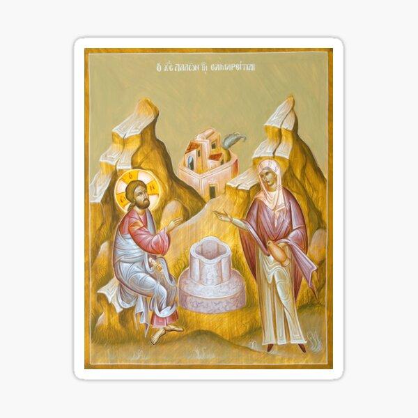 Christ and the Samaritan Woman (St Photini) Sticker