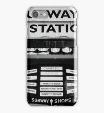 Dirty old Subway to Station sign on Flinders Street in the Melbourne central business district  iPhone Case/Skin
