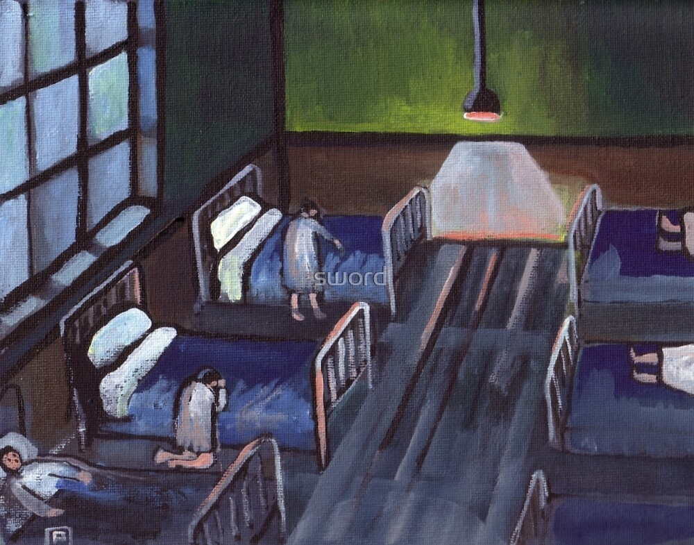 Bedtime in the childrens home (from my original painting) by sword