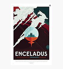 Space Travel Poster - Enceladus, Saturnian Moon Photographic Print