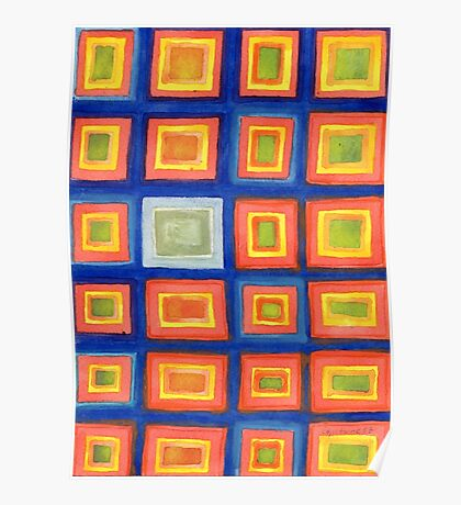 Square Pattern Beaming with Luminous Color  Poster