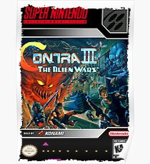Contra III 3 Super Nintendo Collection Poster