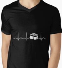 Camera Heartbeat Mens V-Neck T-Shirt