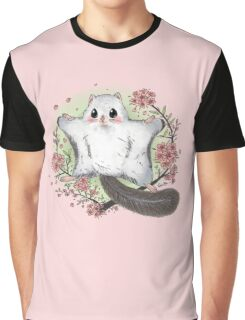Flying Squirrel with Cherry Blossom Graphic T-Shirt