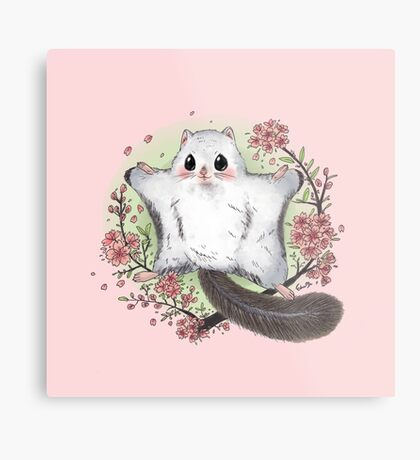 Flying Squirrel with Cherry Blossom Metal Print