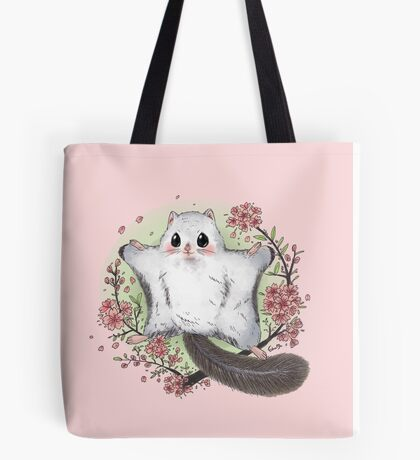 Flying Squirrel with Cherry Blossom Tote Bag