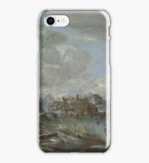 Aert Van Der Neer - A Frozen River Near A Village, With Golfers And Skaters iPhone Case/Skin
