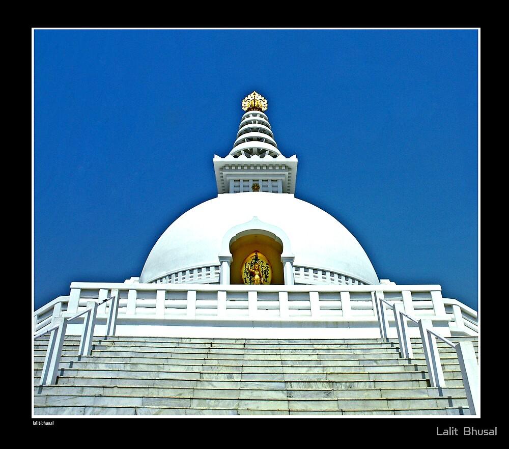 The World Peace Pagoda In Lumbini by Lalit  Bhusal