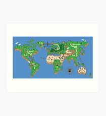 Super Mario Bros style Earth Map Art Print