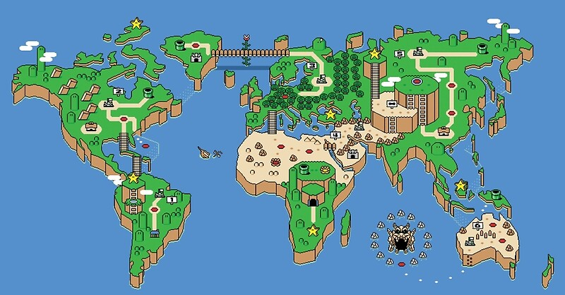 Super mario bros style earth map posters by 8bitgenius redbubble super mario bros style earth map by 8bitgenius gumiabroncs Gallery
