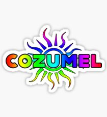COZUMEL MEXICO TROPICAL SUN TYPOGRAPHY BEACH CARIBBEAN SEA Sticker