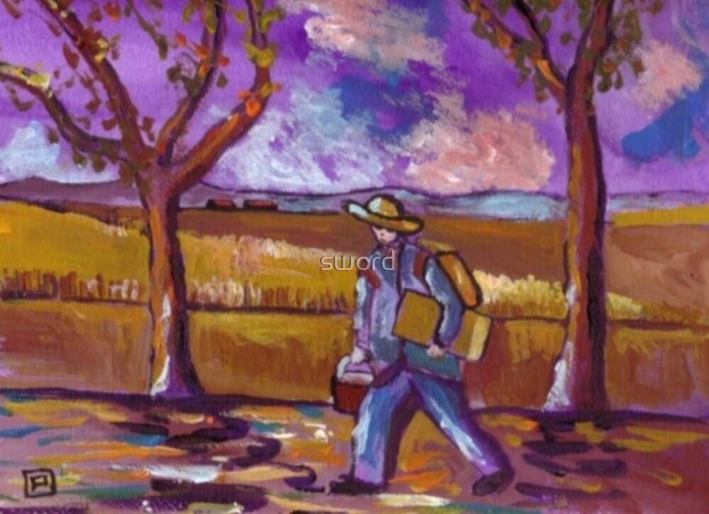 The painter on his way to work (from my original painting) by sword