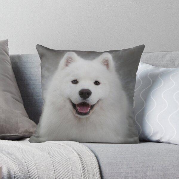 Samoyed puppy dog Throw Pillow