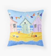 Summer Beach Huts Throw Pillow