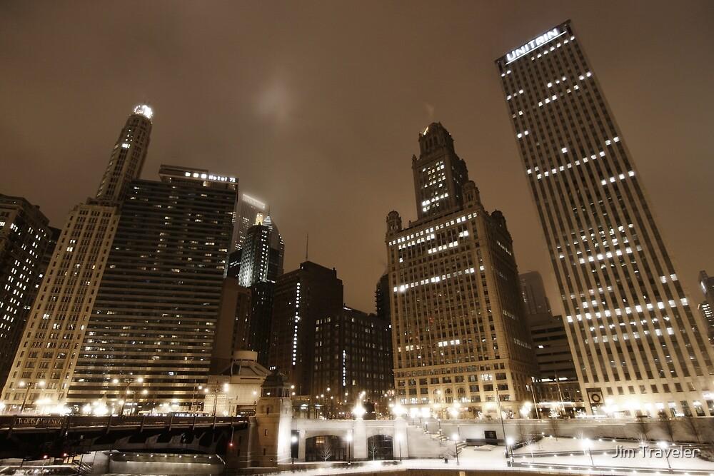 Chicago by night - Wacker drive by Jim Traveler