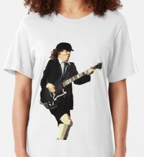 Low Polygon Portrait of Angus Young Slim Fit T-Shirt