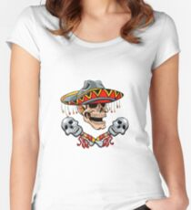 Skull Mexican style with sombrero and maracas Women's Fitted Scoop T-Shirt