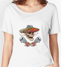 Skull Mexican style with sombrero and maracas Women's Relaxed Fit T-Shirt