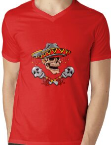 Skull Mexican style with sombrero and maracas Mens V-Neck T-Shirt