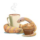 Chai latte, banana nut muffin, and a ball python by Kristen Bernabe