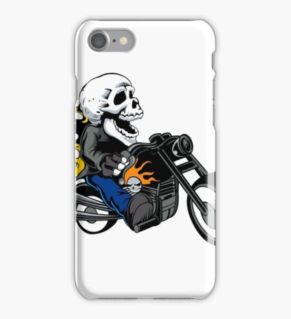 skull rider ride a motor cycle iPhone Case/Skin