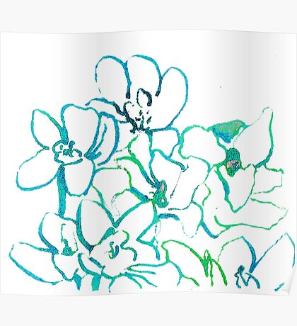 Abstract Orchids Blue Green Poster