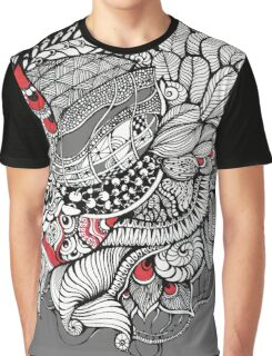 hand drawn fine line black and red fantasy   Graphic T-Shirt