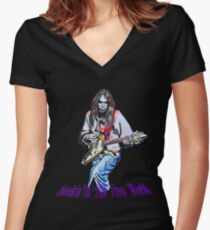 Rockin'In The Free World- Neil Young Women's Fitted V-Neck T-Shirt